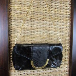 Black Leather Gold chain Franco Sarto Purse
